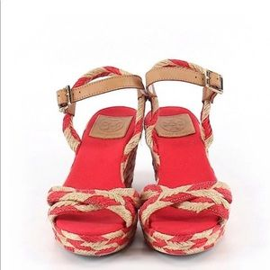 Gorgeous Red & Tan Tory Burch Low heel Sandals, 7